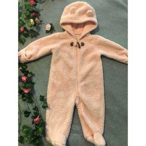 Pink Bear Baby Bunting